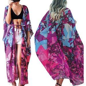 Kimono Coverups Chiffon Multicolor Maxi Long